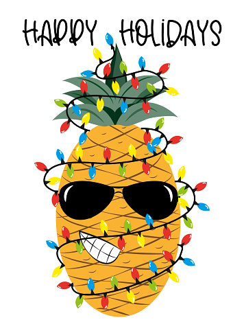 Happy Holidays greeting with cool pineapple in christmas lights