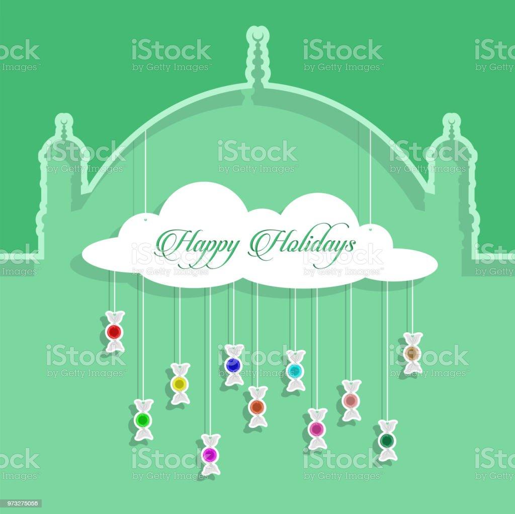 Frohe Weihnachten Gruß mit Papier ausgeschnitten bonbons – Vektorgrafik