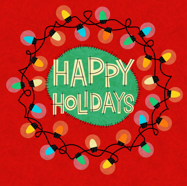 Happy Holidays greeting with string of Christmas lights in a circle on red background. vector art illustration