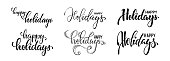 istock happy holidays. Hand drawn creative calligraphy and brush pen lettering. design for holiday greeting cards and invitations of the Merry Christmas and Happy New Year and seasonal holidays 1284904526