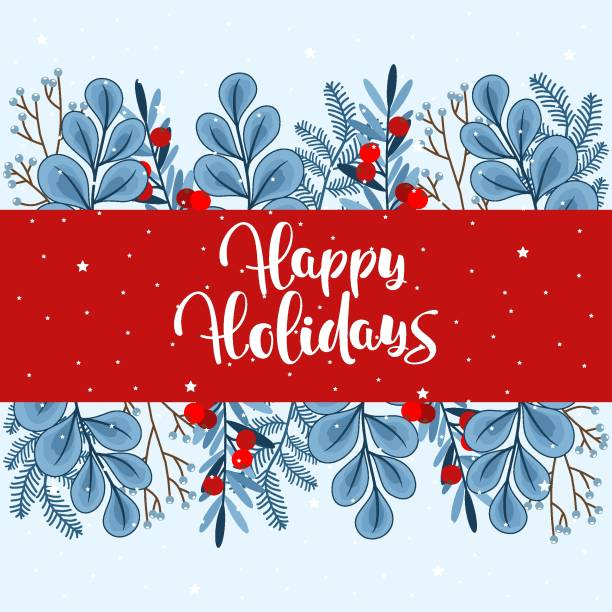 happy holidays hand drawn lettering. christmas card with beautiful background and elements. vector illustration. - happy holidays stock illustrations, clip art, cartoons, & icons