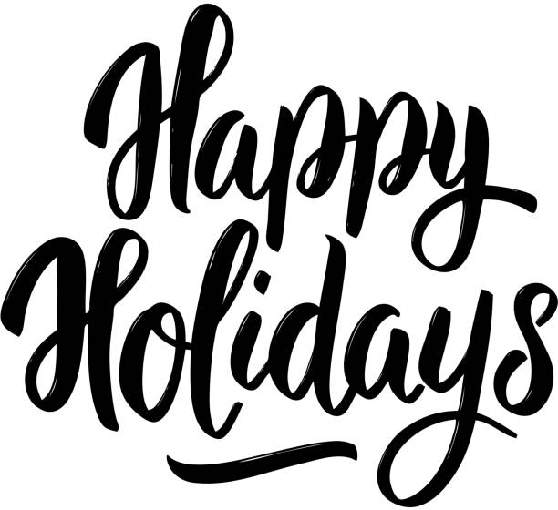 happy holidays. hand drawn lettering on white background. - holiday stock illustrations, clip art, cartoons, & icons