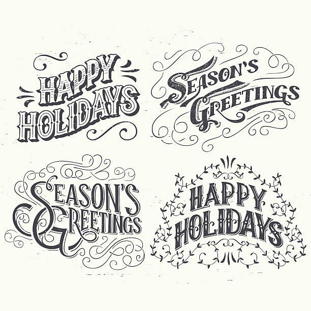 happy holidays hand drawn typographic headlines - happy holidays stock illustrations