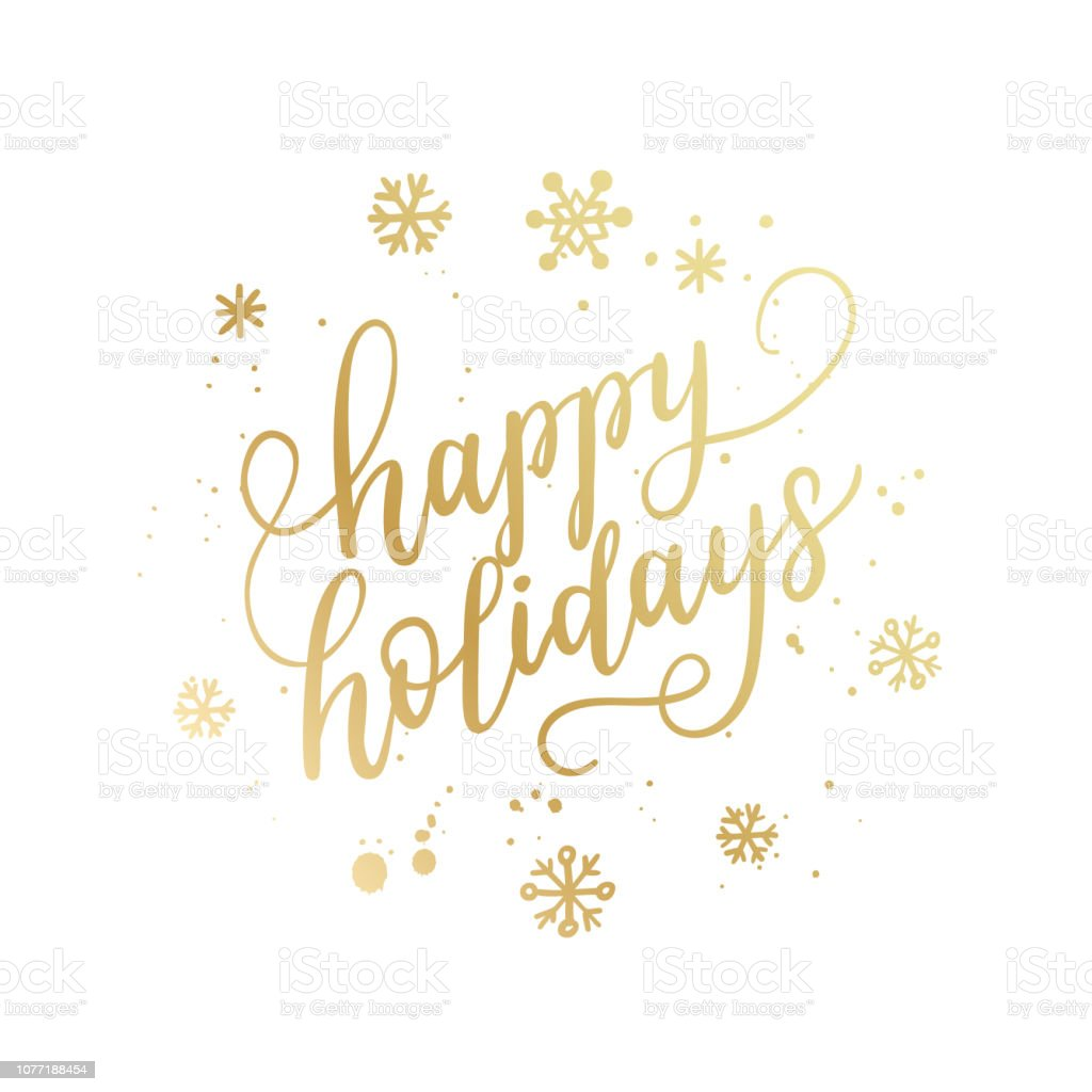 Happy holidays hand lettering calligraphy isolated on white background. Vector holiday illustration element. Golden eve inscription text - Векторная графика 2019 роялти-фри