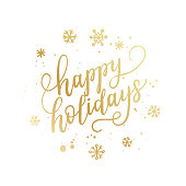 Happy holidays hand lettering calligraphy isolated on white background. Vector holiday illustration element. Golden eve inscription text