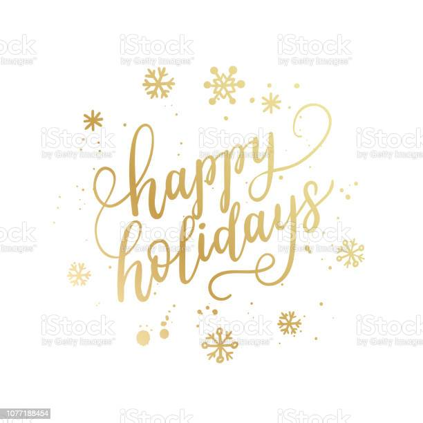 Happy Holidays Hand Lettering Calligraphy Isolated On White Background Vector Holiday Illustration Element Golden Eve Inscription Text — стоковая векторная графика и другие изображения на тему 2019