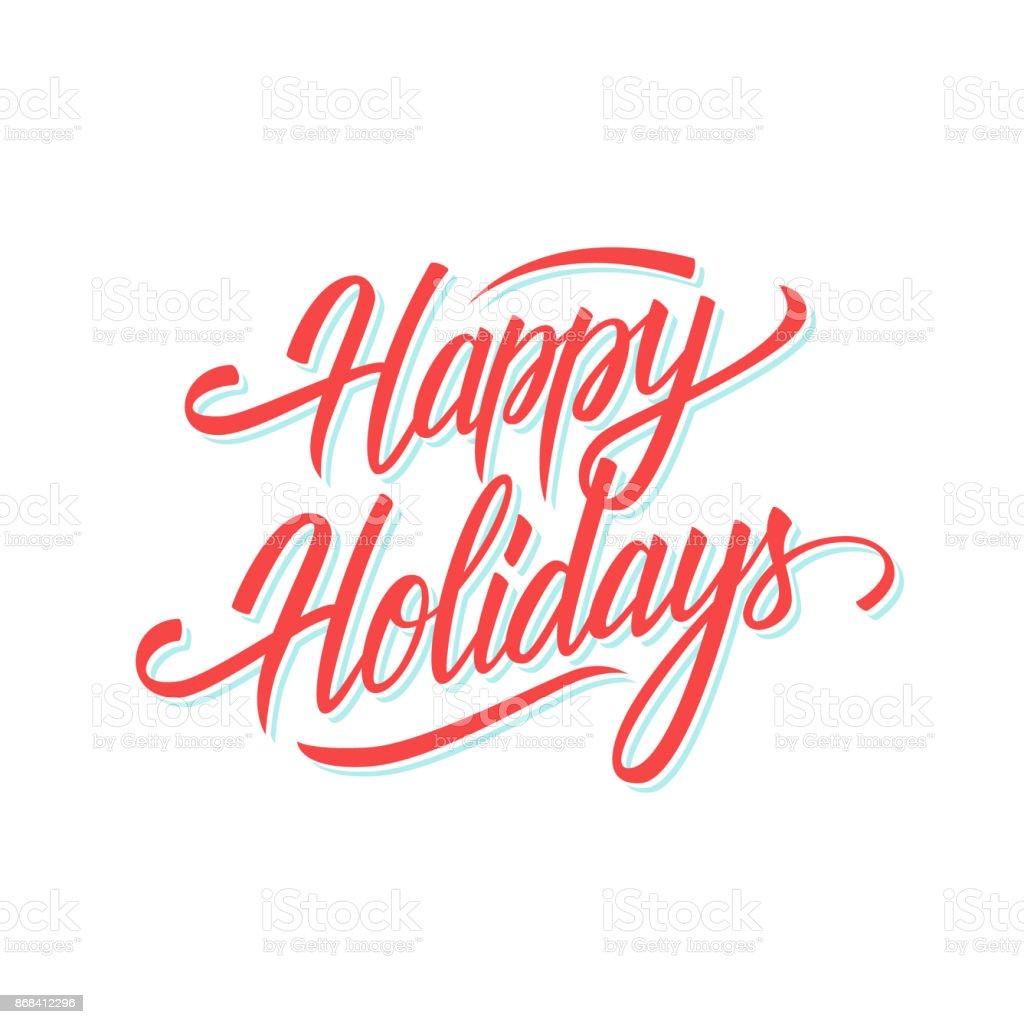 행복 한 휴일 계절 휴일 인사말 카드 및 초대장 텍스트 디자인 레터링 손을. - 로열티 프리 계절 벡터 아트