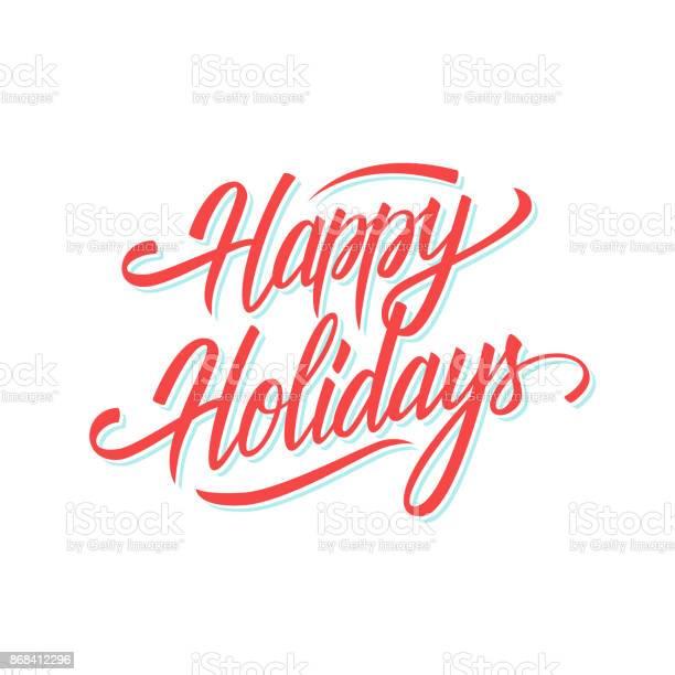 행복 한 휴일 계절 휴일 인사말 카드 및 초대장 텍스트 디자인 레터링 손을 계절에 대한 스톡 벡터 아트 및 기타 이미지