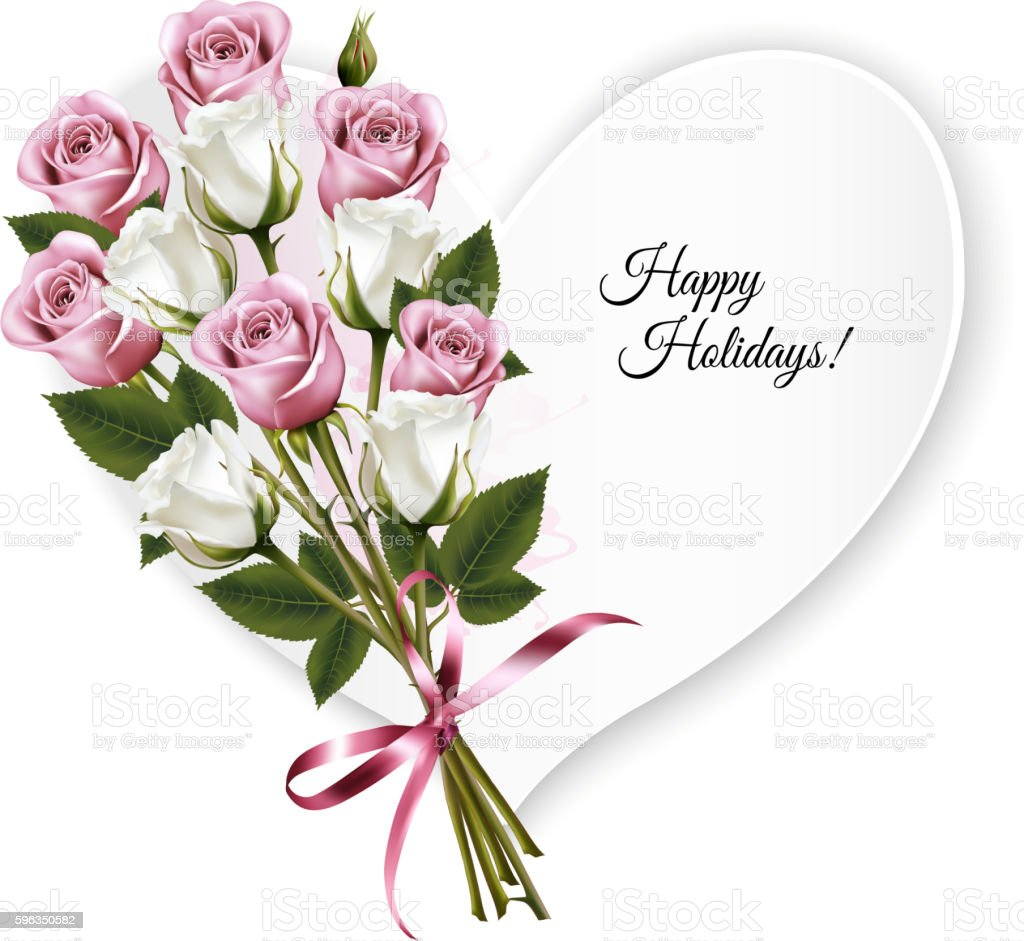 Happy Holidays heart shaped greeting card with a rose bouquet. royalty-free happy holidays heart shaped greeting card with a rose bouquet stock vector art & more images of anniversary