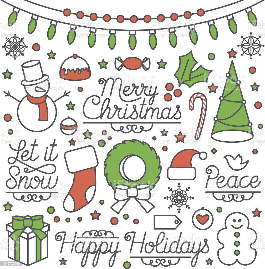 Happy Holidays Illustrations and Type vector art illustration