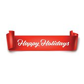 Vector illustration of Happy Holidays inscription on red detailed curved ribbon isolated on white background. Curved paper banner.