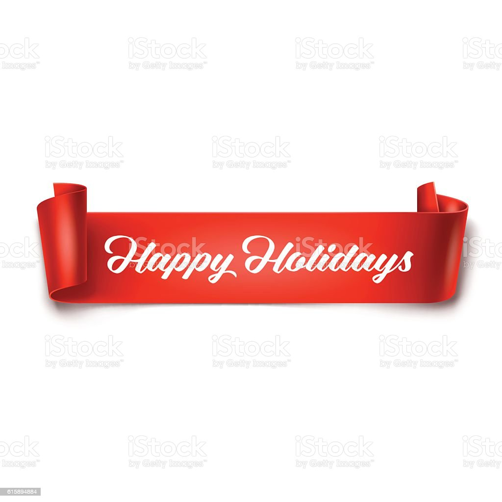 Happy Holidays inscription on red detailed curved ribbon vector art illustration