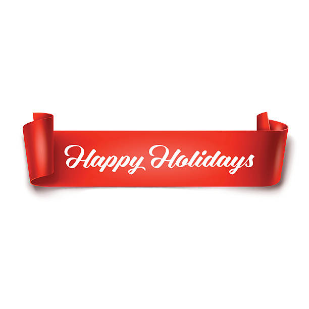 Happy Holidays inscription on red detailed curved ribbon - ilustración de arte vectorial