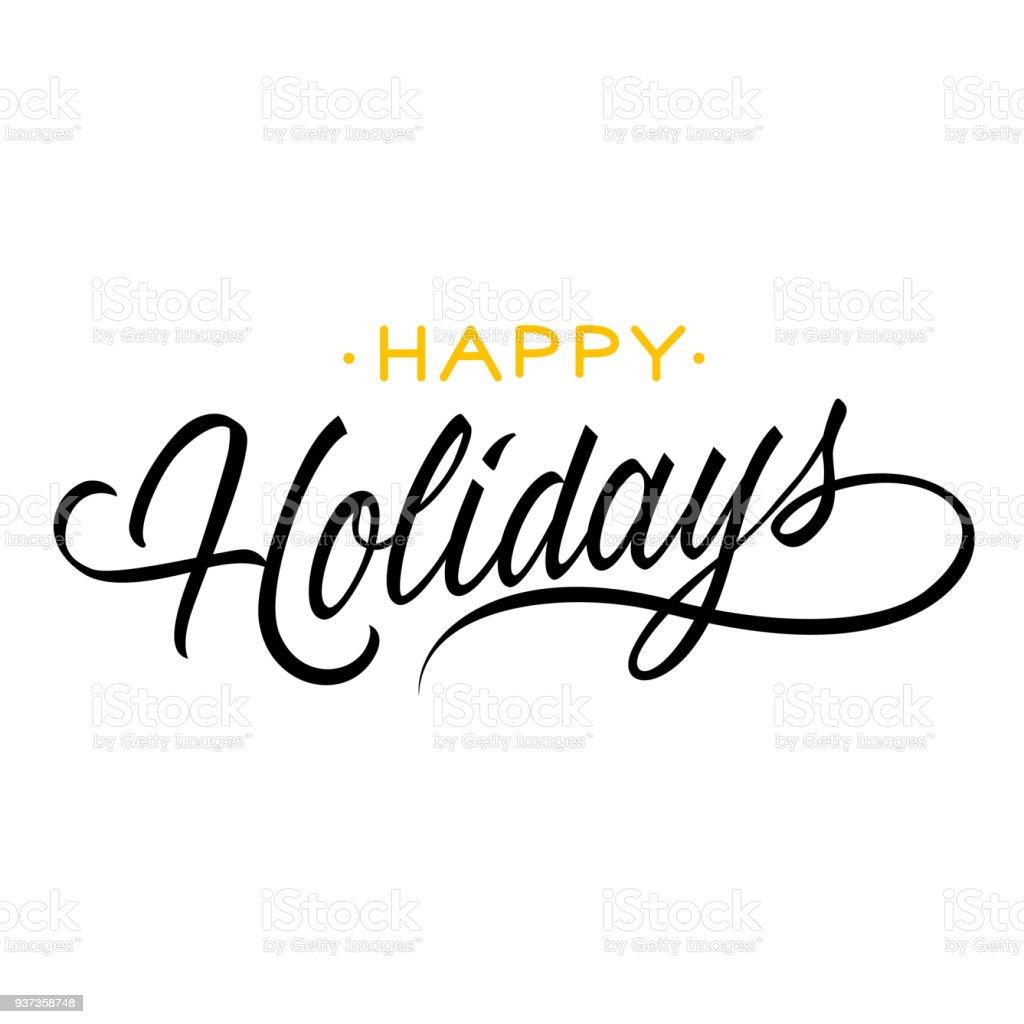 Happy holidays lettering - Векторная графика Брошюра роялти-фри