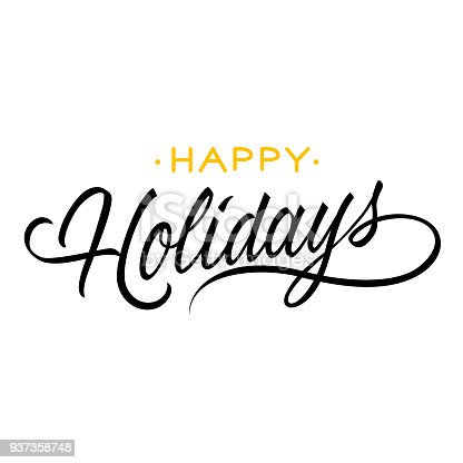 istock Happy holidays lettering 937358748