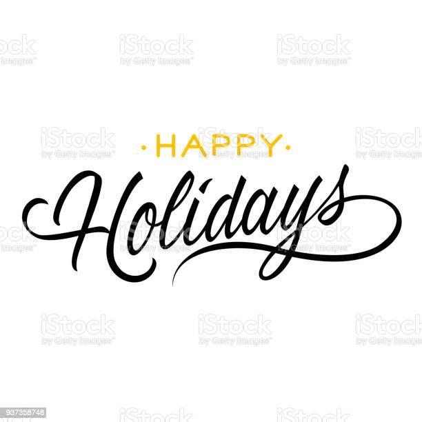 Happy Holidays Lettering — стоковая векторная графика и другие изображения на тему Брошюра