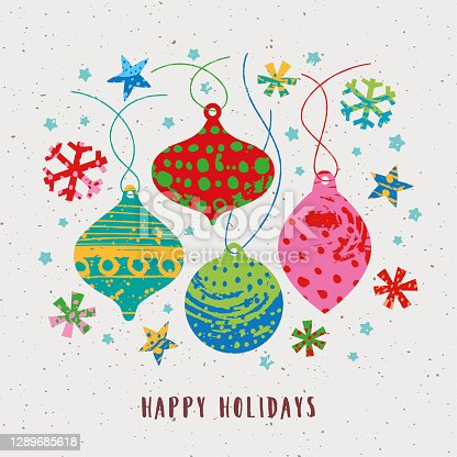 istock Happy Holidays minimalist hand-painted greeting card - square format 1289685618