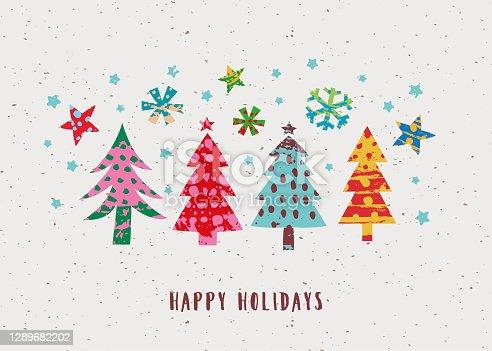 istock Happy Holidays minimalist hand-painted greeting card 1289682202