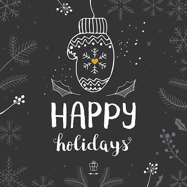 Happy holidays mitten Easily editable vector illustration on layers. mitten stock illustrations