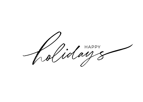 Happy holidays modern brush calligraphy. Hand lettering inscription to winter holiday design, vector illustration. Christmas and New Year phrase handwritten calligraphy isolated on white background.