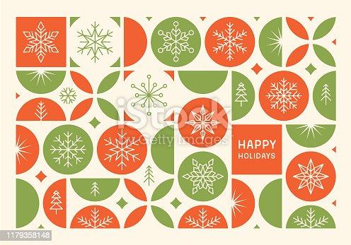 istock Happy holidays modern card 1179358148