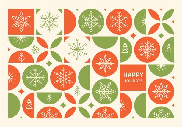 ilustrações, clipart, desenhos animados e ícones de feriados felizes cartão moderno - inverno