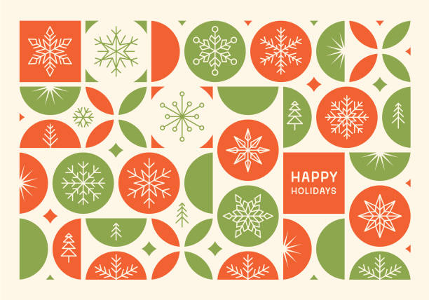 Happy holidays modern card Christmas card with snowflakes. Modern geometric background. Easily editable flat vector illustration on layers. holidays stock illustrations