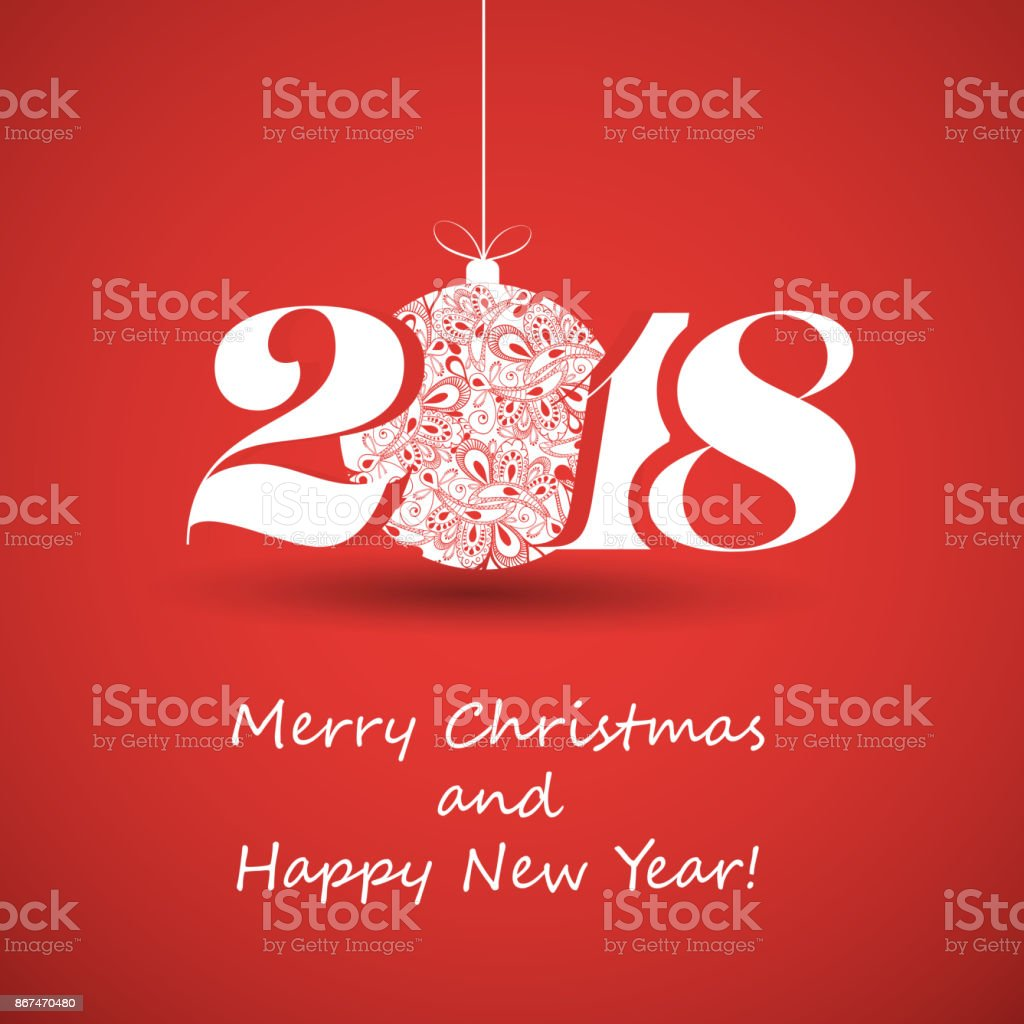 happy holidays new year card template 2018 stock vector art more
