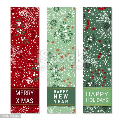 istock Happy holidays, New Year, Merry X-mas colorful ornate vertical banner template set. Elegant fir branches, cones, mistletoe leaves, red elderberry and rowan berry pattern. EPS 10 vector backgrounds. 1287576443