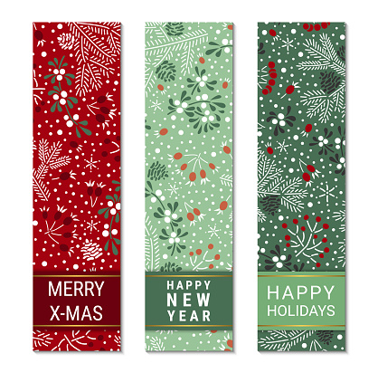 Happy holidays, New Year, Merry X-mas colorful ornate vertical banner template set. Elegant fir branches, cones, mistletoe leaves, red elderberry and rowan berry pattern. EPS 10 vector backgrounds.