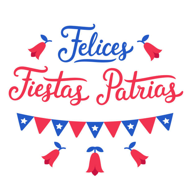 felices fiestas patrias chile - flagge chile stock-grafiken, -clipart, -cartoons und -symbole