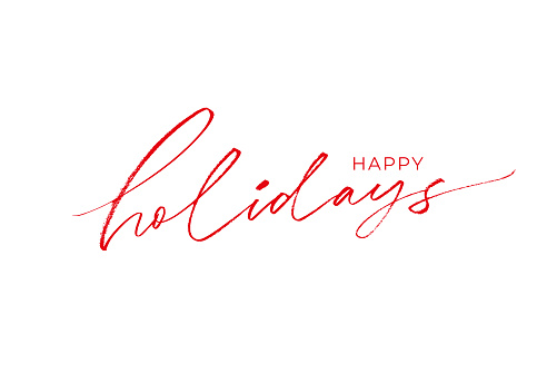 Happy holidays phrase. Modern brush vector calligraphy. Greeting holiday card, Christmas and New Year phrase.