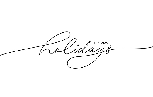 Happy holidays phrase. Modern pen vector calligraphy. Greeting holiday card, Christmas and New Year phrase.