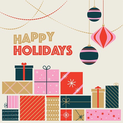Christmas holiday graphic featuring vintage Christmas ornaments and gifts in a retro color scheme.