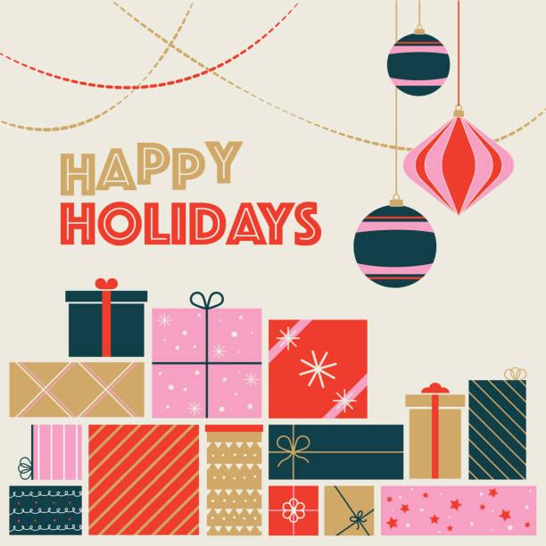 ilustrações, clipart, desenhos animados e ícones de cartão postal dos feriados felizes - cartão de natal - presente