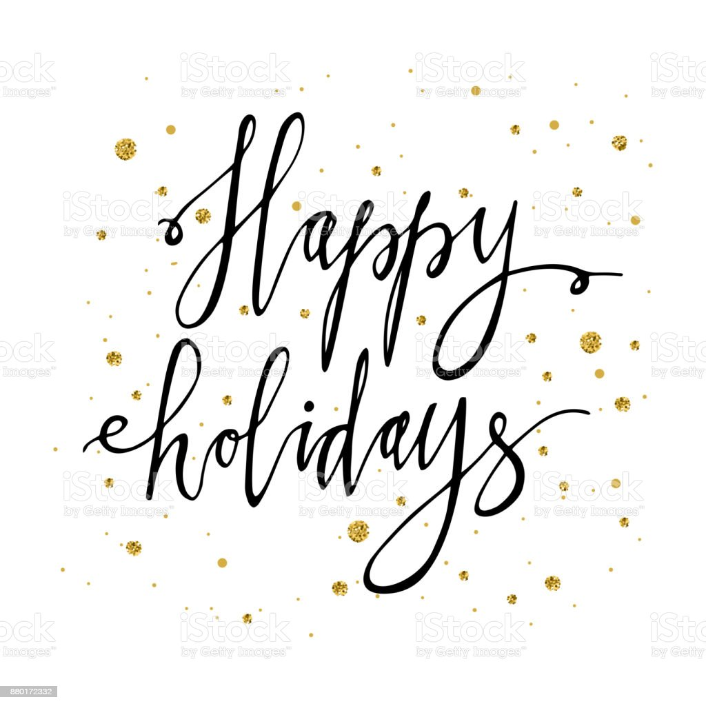 Happy Holidays Postcard Template Modern New Year Lettering With ...