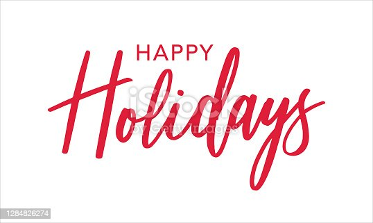istock Happy Holidays Red Brush Calligraphy Vector Text Script, Horizontal 1284826274