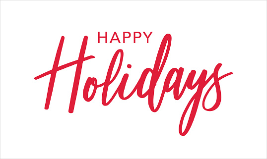 Happy Holidays Red Brush Calligraphy Vector Text Script, Horizontal