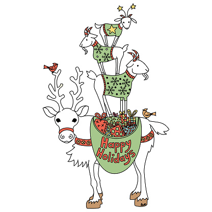 Happy Holidays Reindeer and Goats