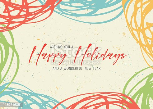istock Happy Holidays scribbles greeting card 1189716051