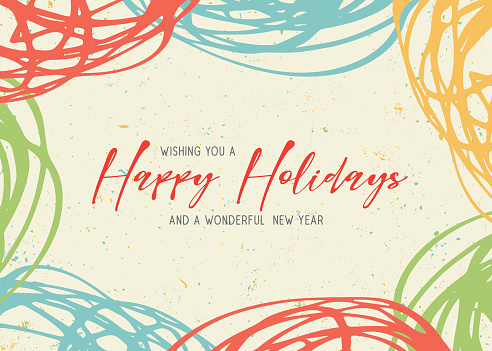 Happy Holidays scribbles greeting card