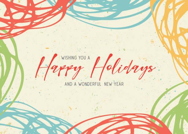 節日快樂塗鴉賀卡 - happy holidays 幅插畫檔、美工圖案、卡通及圖標