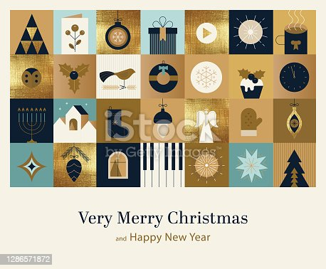 Very Merry Christmas and Happy New Year. Elegant seasonal background in modern vision of Art deco style with a lot of different symbols related with December festive spirit.