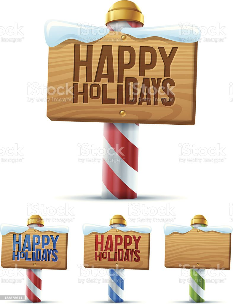 Happy Holidays Sign vector art illustration