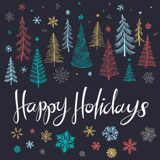 Happy holidays sketched trees illustration