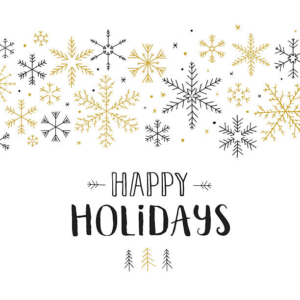 happy holidays snowflakes - holiday stock illustrations, clip art, cartoons, & icons