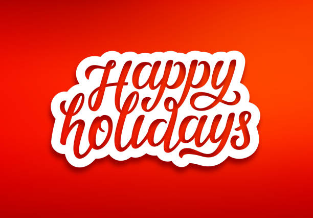 happy holidays text on white paper label with carving over red background. modern calligraphy lettering on sticker for seasons greetings. vector background - happy holidays stock illustrations, clip art, cartoons, & icons