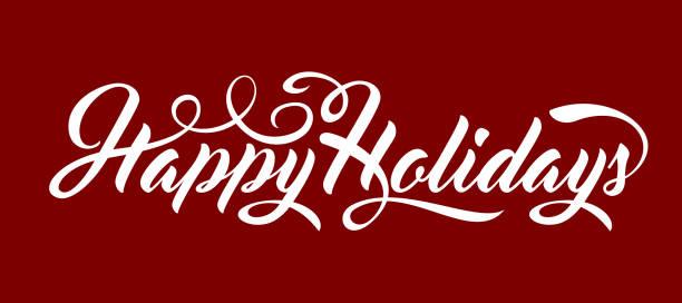 happy holidays text - happy holidays stock illustrations, clip art, cartoons, & icons