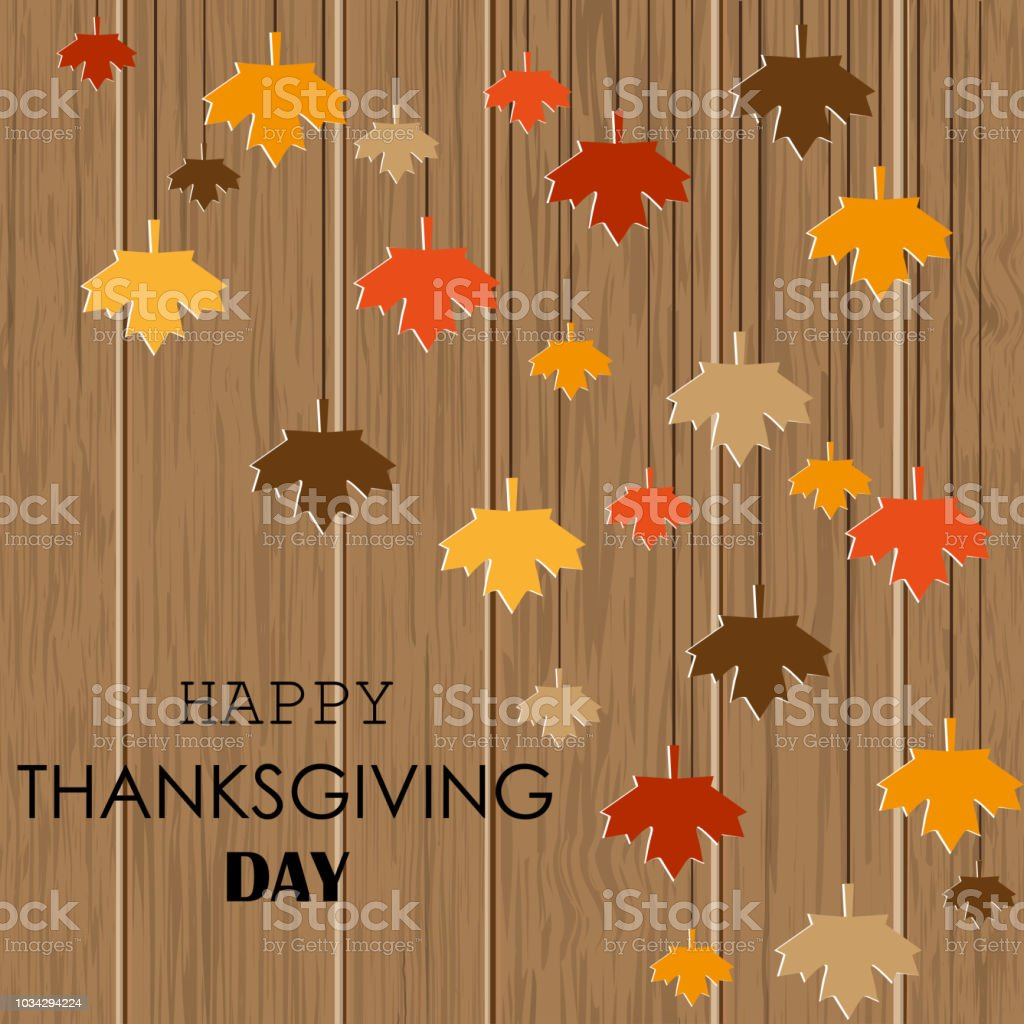 Happy Holidays Thanksgiving greeting card design with Maple leaves on...