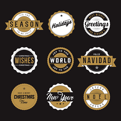 Happy Holidays Themed Labels Icon Set